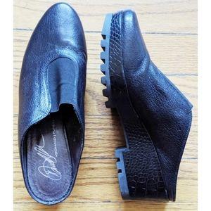 Donald J Pliner Black Leather Platform Slide Wedge